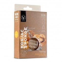 Gąbka konjac z łupinami orzecha do peelingu twarzy i ciała (duża) - Peeling Konjac Sponge