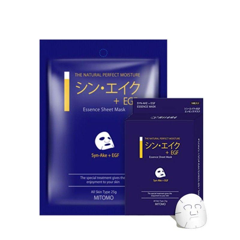 Japońska maska na twarz MITOMO Syn-Ake (syntetyczny jad ze żmiji) i EGF